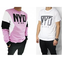 PACK Sudadera Sudadera Three Color Lux Pink/White/Blk + Camiseta NYD Icon Wht/Blk